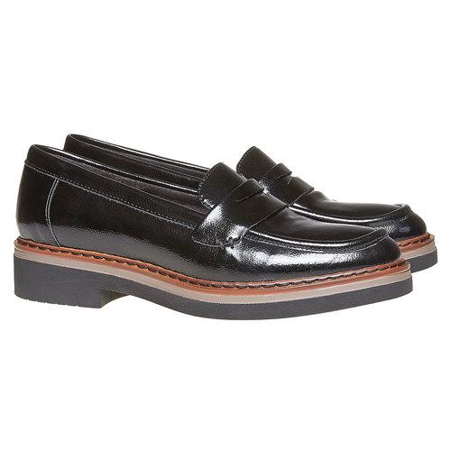 Loafers da donna con suola ampia bata, nero, 511-6239 - 26