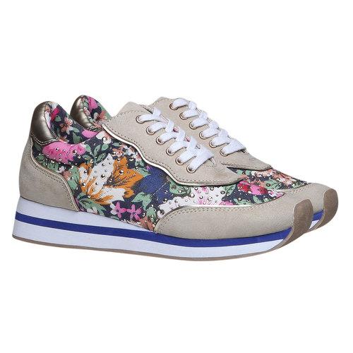 Sneakers da donna con motivo floreale north-star, viola, 549-9211 - 26
