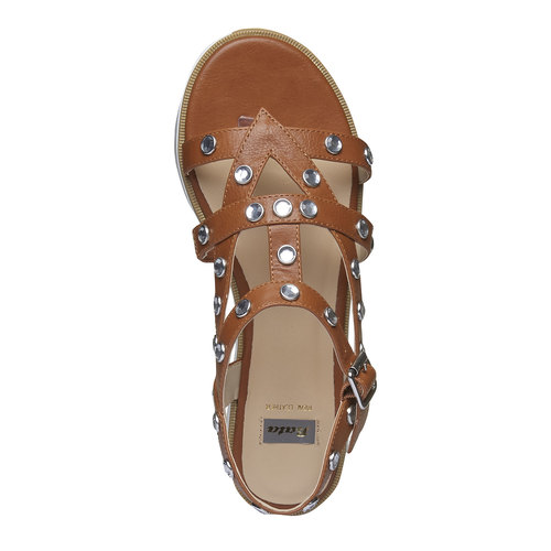 Sandali da donna con strisce e flatform bata, marrone, 561-3225 - 19