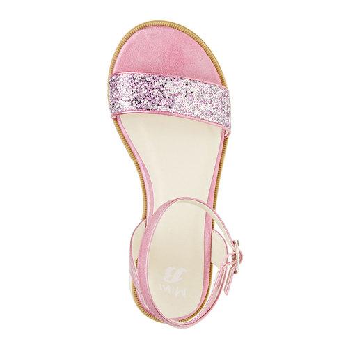 Sandali con flatform con strass mini-b, rosa, 361-5165 - 19