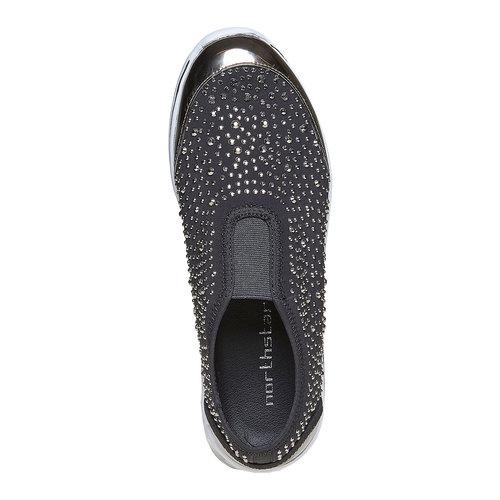 Sneakers slip-on con strass north-star, grigio, 539-2109 - 19