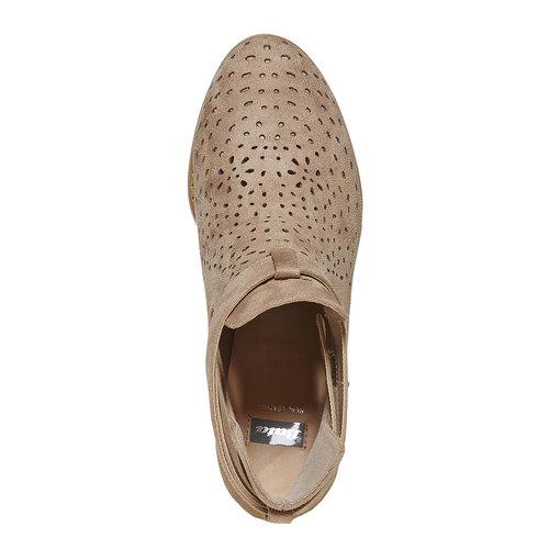 Stivaletti alla caviglia con perforazioni bata, beige, 799-8627 - 19