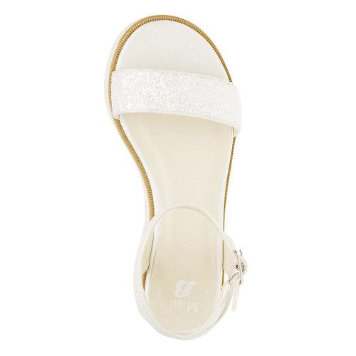 Sandali con flatform con strass mini-b, bianco, 361-1165 - 19