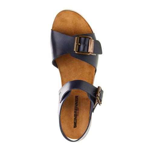 Sandali da donna con strisce weinbrenner, blu, 664-9193 - 19
