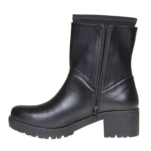 Stivali da donna con tacco massiccio bata, nero, 691-6153 - 19