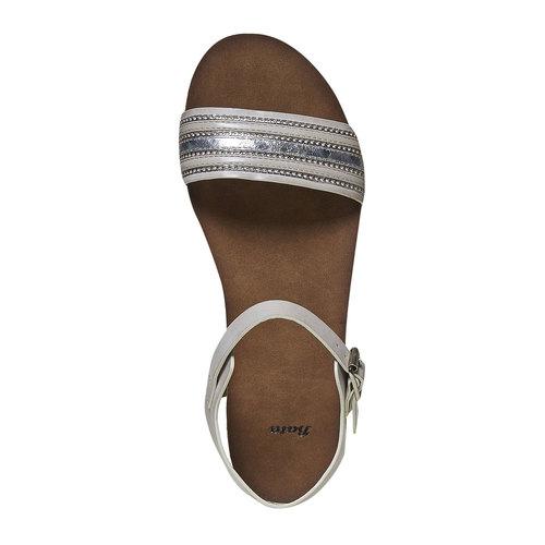 Sandali da donna con flatform bata, grigio, 561-2404 - 19