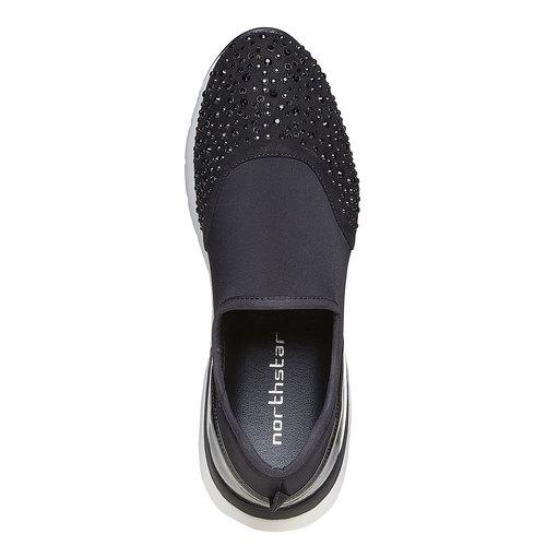Slip-on sportive da donna con strass north-star, nero, 549-6258 - 19
