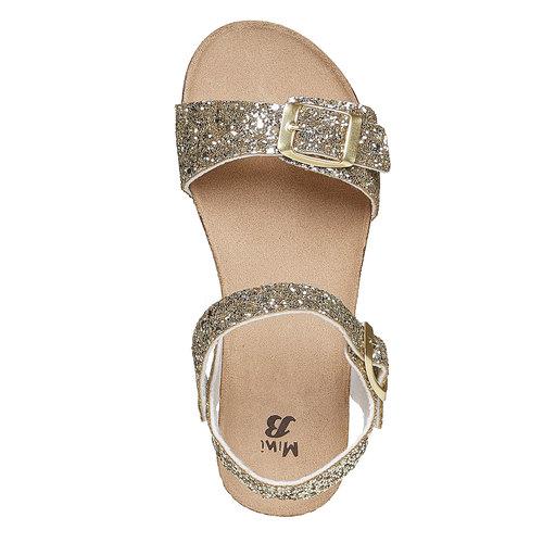 Sandali con glitter e suola di sughero mini-b, oro, 369-8189 - 19