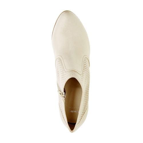 Scarpe basse di pelle con tacco bata, bianco, 724-8932 - 19