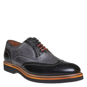 Oxford di pelle con suola appariscente bata-the-shoemaker, grigio, 824-2132 - 13