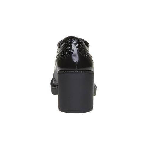 Scarpe basse da donna con tacco bata, nero, 621-6164 - 17
