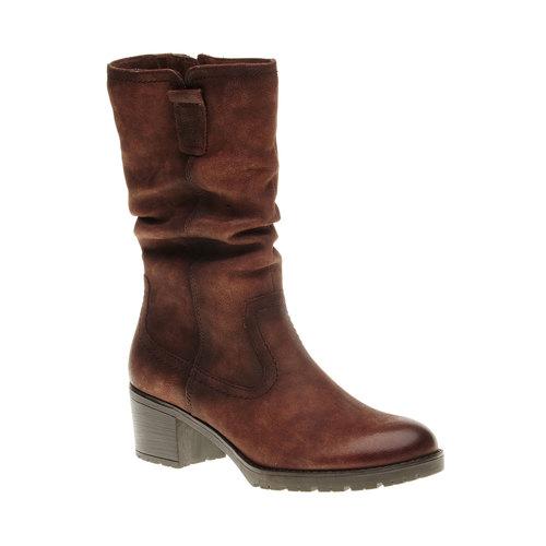 Stivali di pelle con tacco stabile bata, marrone, 696-4127 - 13