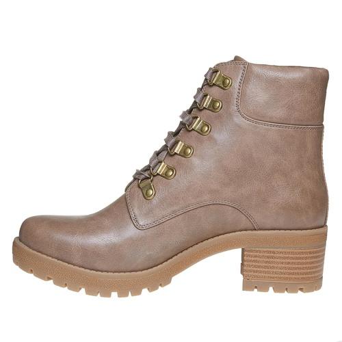 Stivaletti da donna caviglia con lacci bata, marrone, 691-3259 - 19