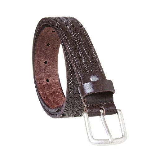 Cintura da uomo in pelle con intrecci bata, marrone, 954-4158 - 13