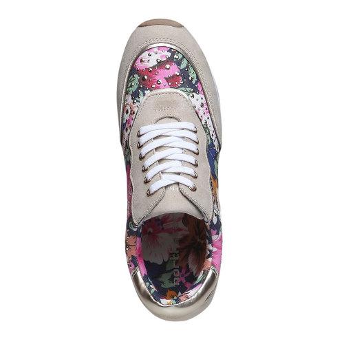 Sneakers da donna con motivo floreale north-star, viola, 549-9211 - 19