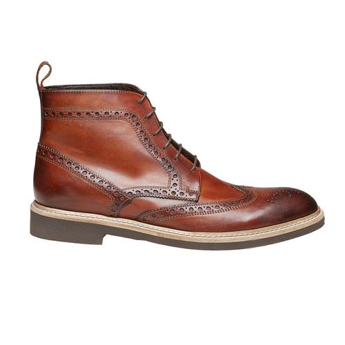 Scarpe in pelle sopra la caviglia con decorazione Brogue, marrone, 824-3183 - 15