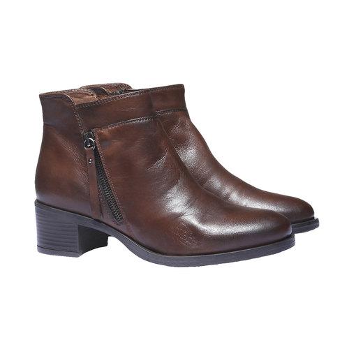 Scarpe di pelle alla caviglia bata, marrone, 694-4166 - 26