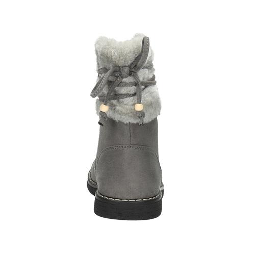 Scarpe da bambina con pelliccia mini-b, grigio, 399-2247 - 17