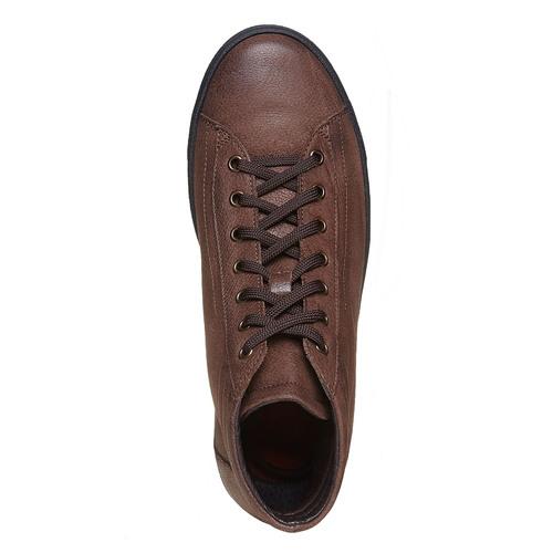 Sneakers di pelle alla caviglia bata, marrone, 594-4659 - 19