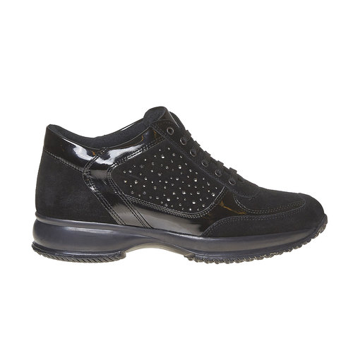 Sneakers in pelle da donna con strass bata, nero, 523-6578 - 15