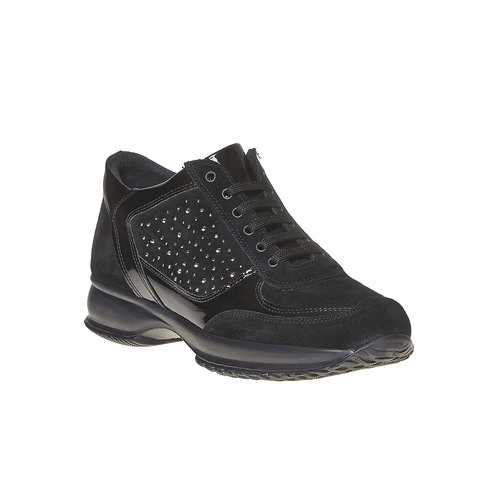 Sneakers in pelle da donna con strass bata, nero, 523-6578 - 13