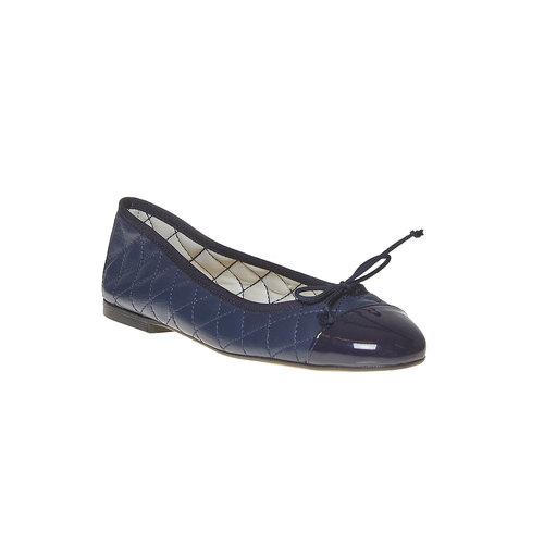 Ballerine in pelle con cuciture bata, blu, 524-9431 - 13