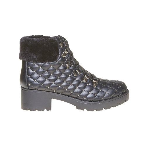 Scarpe da donna alla caviglia con cuciture bata, nero, 691-6400 - 15