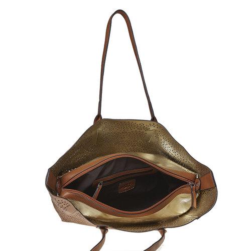 Borsa marrone con perforazioni bata, marrone, 961-3368 - 15