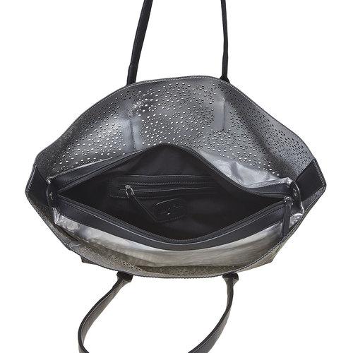 Borsa da donna con perforazioni bata, nero, 961-6368 - 15