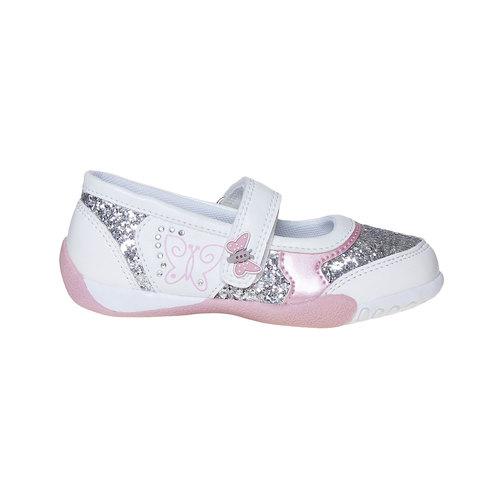 Scarpe da ragazza con glitter mini-b, bianco, 221-1186 - 15