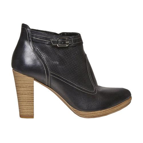 Stivaletti in pelle alla caviglia bata, nero, 724-6556 - 15