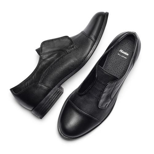 Scarpe basse in vera pelle bata, nero, 514-6267 - 26
