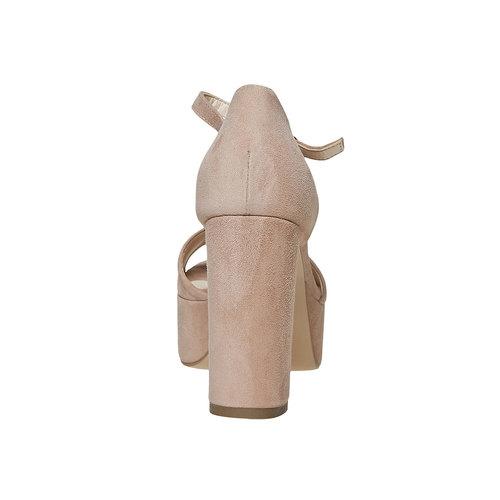 Sandali di pelle con tacco bata, beige, 763-8568 - 17