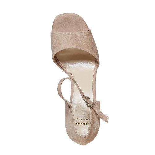 Sandali di pelle con tacco bata, beige, 763-8568 - 19