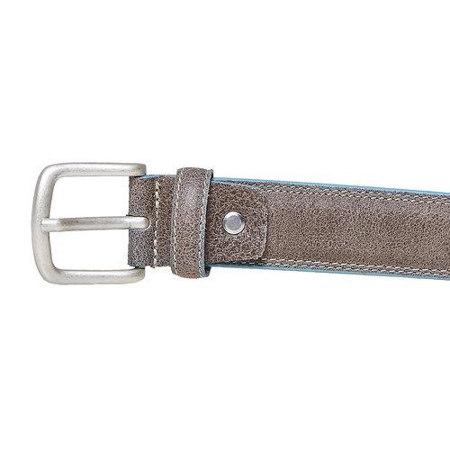 Cintura in pelle con orlo blu bata, giallo, 954-8228 - 26