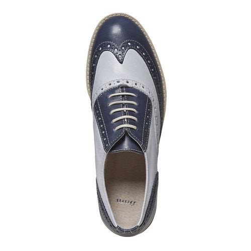 Scarpe basse in pelle da donna in stile Oxford bata, blu, 524-9128 - 19
