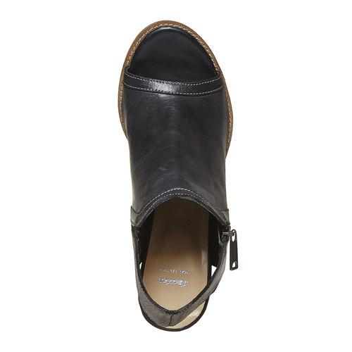 Scarpe in pelle da donna con tacco bata, nero, 724-6530 - 19