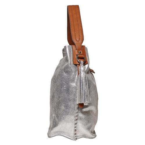 Borsa di pelle in stile Hobo bata, argento, 963-1126 - 17