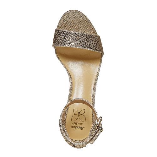 sandali metalizzati con tacco insolia, oro, 769-8275 - 19