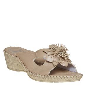 Pantofole da donna con tacco a zeppa, beige, 674-3121 - 13