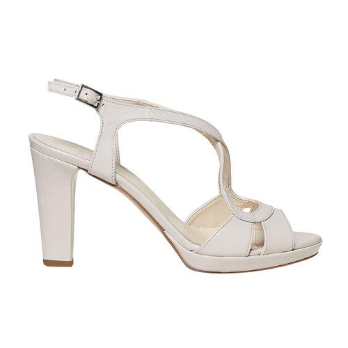 Sandali di pelle con tacco bata, beige, 764-8587 - 15