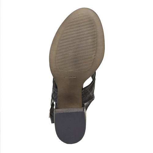 Sandali in pelle con perforazioni bata, nero, 764-6515 - 26