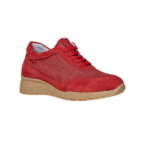 Sneakers rosse in pelle flexible, rosso, 529-5586 - 13