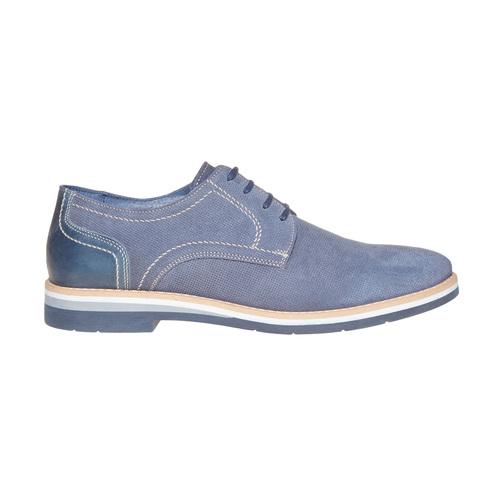 Scarpe basse in pelle con suola appariscente bata, blu, 823-9258 - 15
