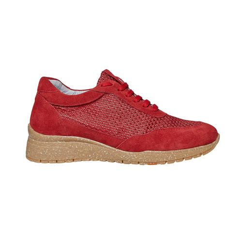 Sneakers rosse in pelle flexible, rosso, 529-5586 - 15
