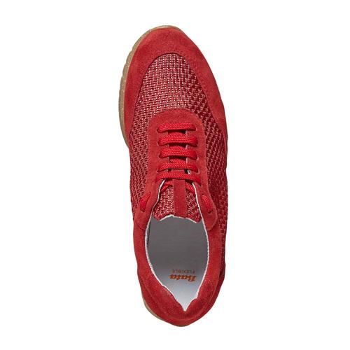 Sneakers rosse in pelle flexible, rosso, 529-5586 - 19
