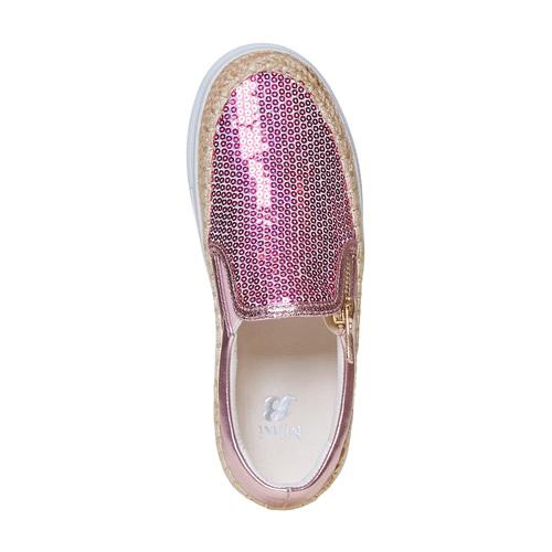 Slip-on rosa da bambina con paillettes mini-b, rosso, 329-5247 - 19