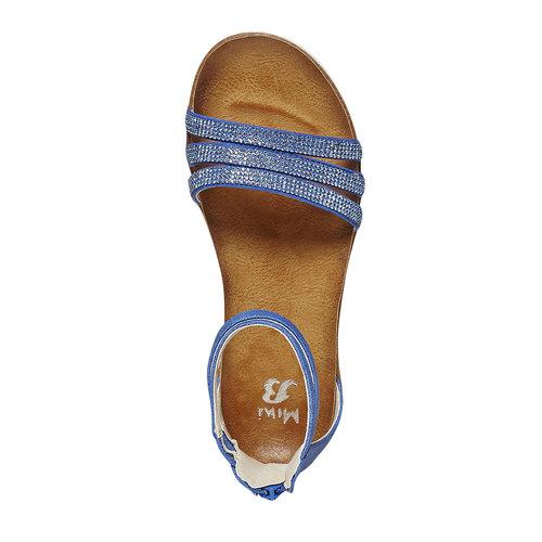 Sandali blu da ragazza con strass mini-b, blu, 361-9196 - 19