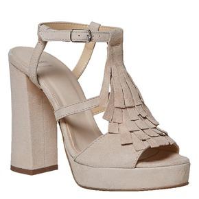 Sandali di pelle con tacco stabile bata, 763-8583 - 13