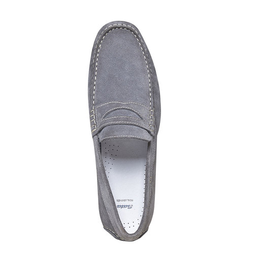 Sandali in pelle con cuciture appariscenti bata, grigio, 853-2272 - 19